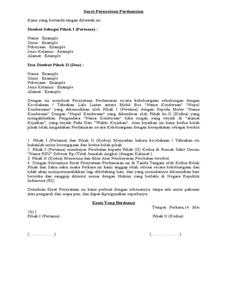 Surat Pernyataan Perdamaian Doc