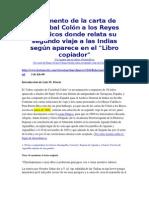 Carta Cristobal Colon Segundo Viaje