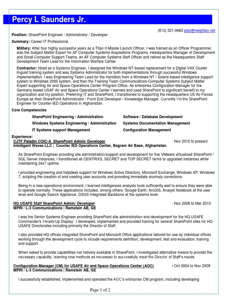 SharePoint Engineer Administrator Developer in Tampa FL Resume Percy ...