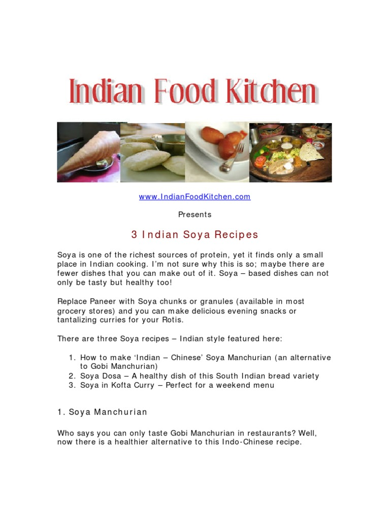 3 indian soya recipes free pdf download indian cuisine curry forumfinder Image collections