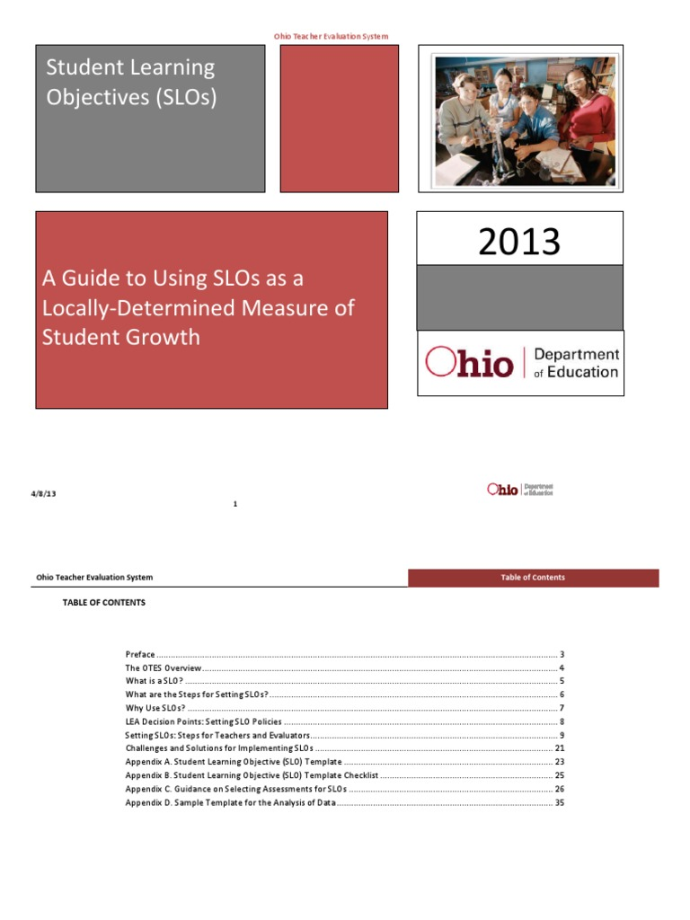 Ohio slo template gallery template design ideas for Slo scoring template