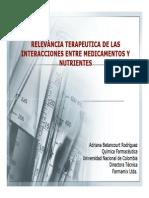 120- Relevancia terapéutica de las interacciones entre medicamentos y nutrientes - Betancurt