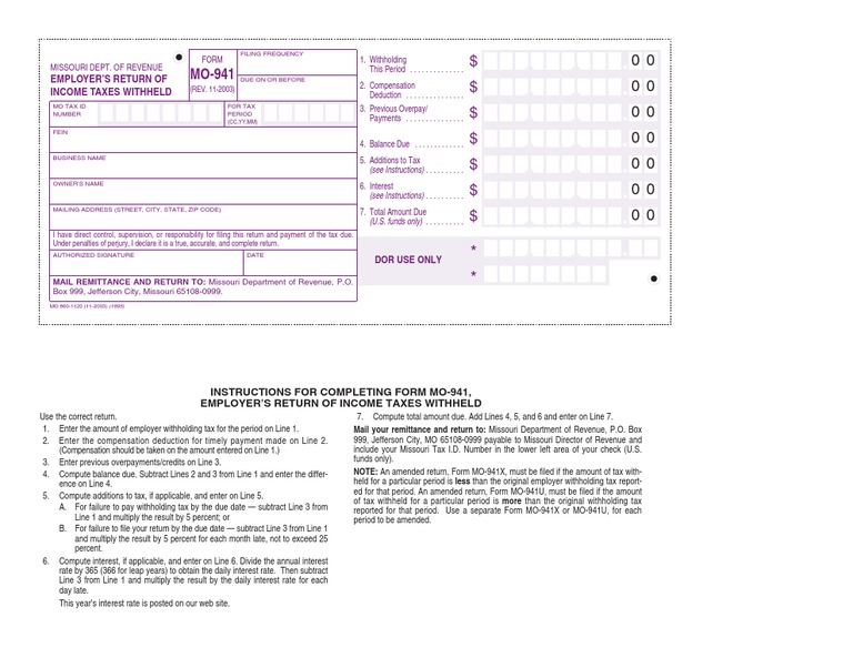 941 form missouri  Department of Labor: 10 | Withholding Tax | Economy Of The ...