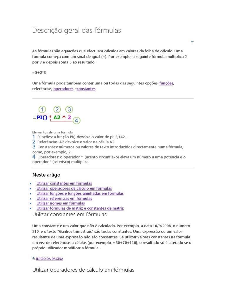 Descrição Geral Das Fórmulas Excel   Planilha   Cálculo
