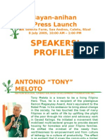 Bayan Anihan Press Launch Speakers' Profile