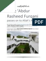 Hafiz 'Abdur Rasheed Furqani passes on to Allah's Mercy