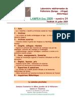 LAMPEA-Doc 2009 – numéro 24 / Vendredi 10 juillet 2009