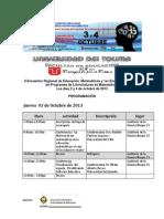 programacion II Encuentro Regional de Educación Matematicas