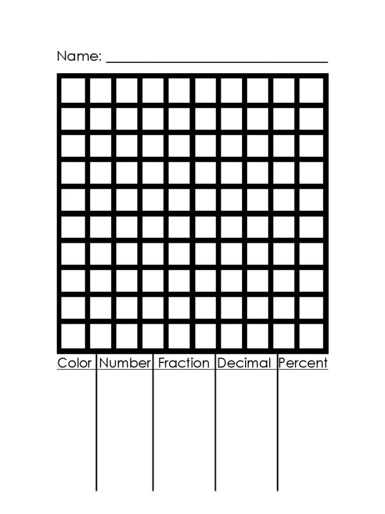 Percents Decimals Fractions Mosaic