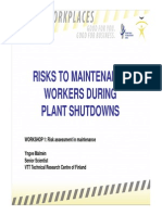 Risks to Maintenance During Plant Shutdown