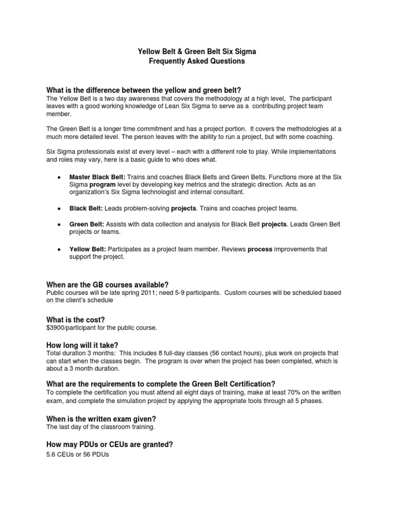 Yellowandgreenbeltpdf Six Sigma Test Assessment