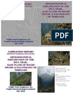 ARCHAEOLOGICAL EXPLORATION OF THE INCA TRAIL