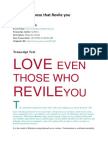 Love Even Those That Revile You