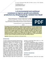 Optimization of Environmental and Nutritional Conditions to Improve Growth and Antibiotic Productions by Streptomyces Sp Isolated From Saudi Arabia Soil