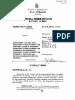 Court of Appeals Resolution affirmiming the dismissal of murder charge against former governor