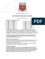 St Mark's College Club Inc. Subscription Fee 2014