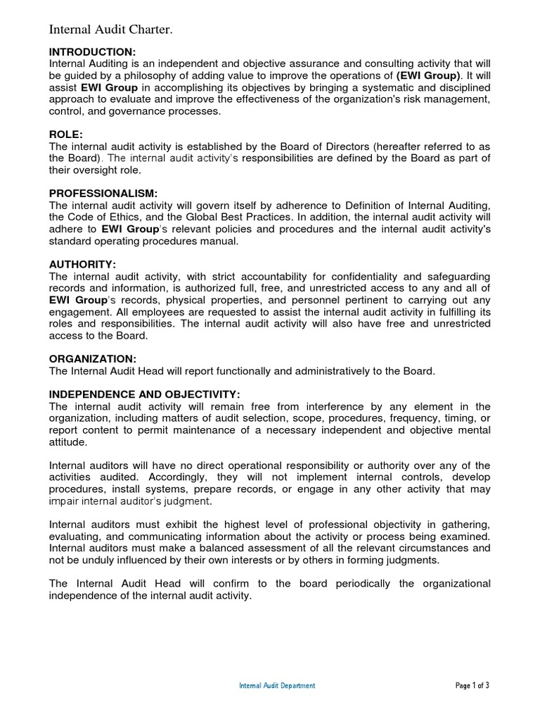 Nice Internal Audit Charter Template Ideas - Examples Professional ...