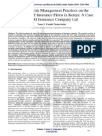 Effects of Risk Management Practices on the Performance of Insurance Firms in Kenya