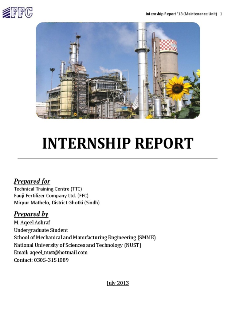 Wonderful Internship Report Fauji Fertilizer Company (FFC) | Urea | Natural Gas