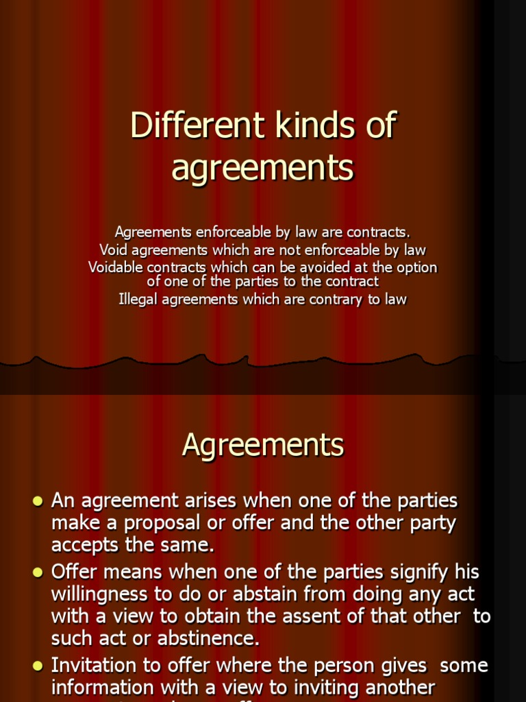 Different kinds of agreements offer and acceptance contract law stopboris Image collections
