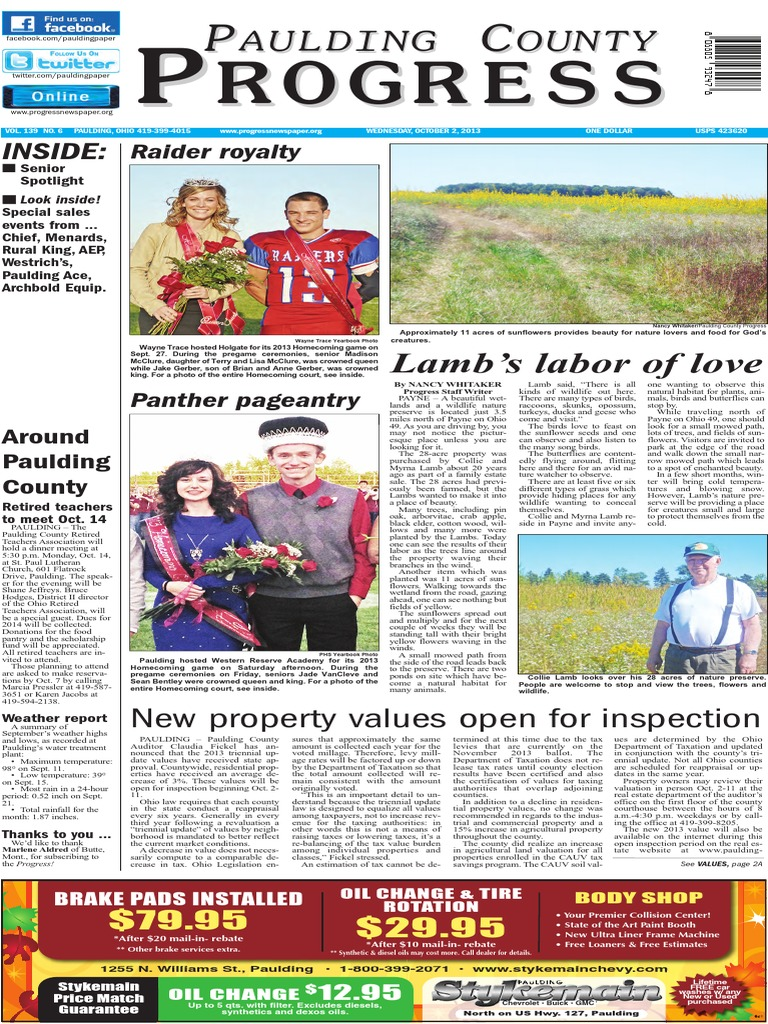 Paulding County Progress October 2, 2013 | Election Day (United States) |  Newspapers
