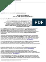 AFFIDAVIT OF TRUTH ACTUAL AND CONSTRUCTIVE NOTICE,Jeffrey- Thomas Maehr ID# 000000000