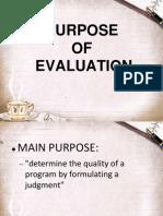 Purpose of Evaluationu