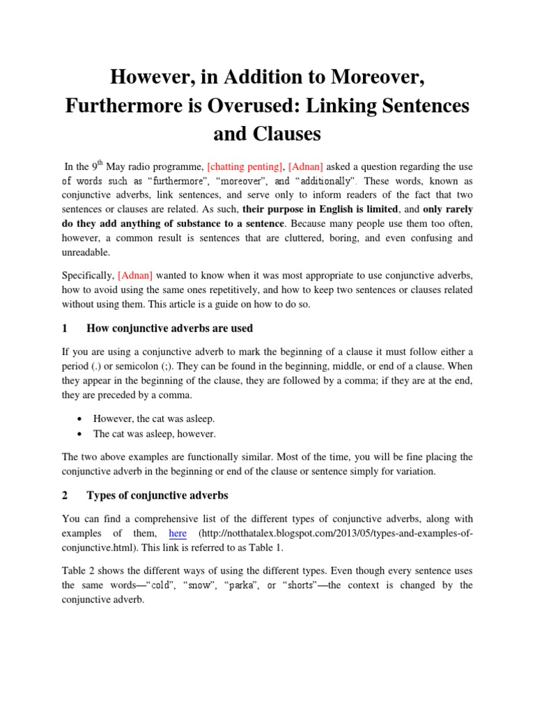 Transitioning Between Sentences And Clauses Sentence Linguistics