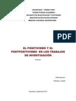EL POSITIVISMO Y EL POSTPOSITIVISMO EN LOS TRABAJOS DE INVESTIGACIÓN