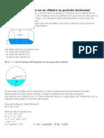 Volumen de un líquido en un cilindro en posición horizontal