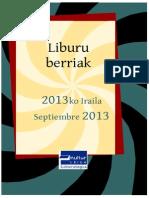 2013ko iraileko liburu berriak -- Novedades septiembre 2013