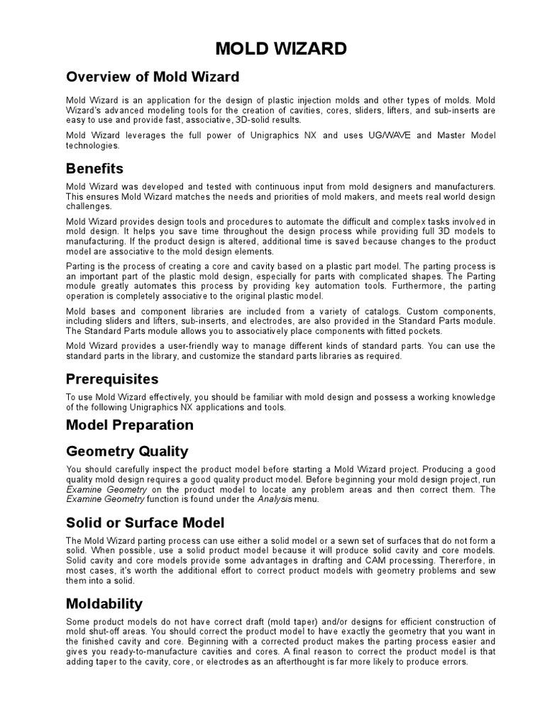 Mold Wizard, Unigraphics | Casting (Metalworking) | 3 D Modeling