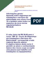 CURSO DE SEGURANÇA EM INSTALAÇÕES E SERVIÇOS EM ELETRICIDAD