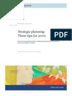 Strategic Planning Three Tips for 2009