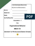 Organizational Behaviour-Ass 1