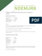 Formula Para Preparar Productos de Limpieza y Otrosbbb