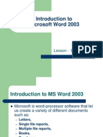 Introduction to MS Word 2003
