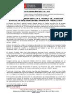 """MINISTRO DEL INTERIOR DESTACA EL TRABAJO DE LA BRIGADA ESPECIAL DE INTELIGENCIA EN LA OPERACIÓN """"DÉDALO 2013"""""""