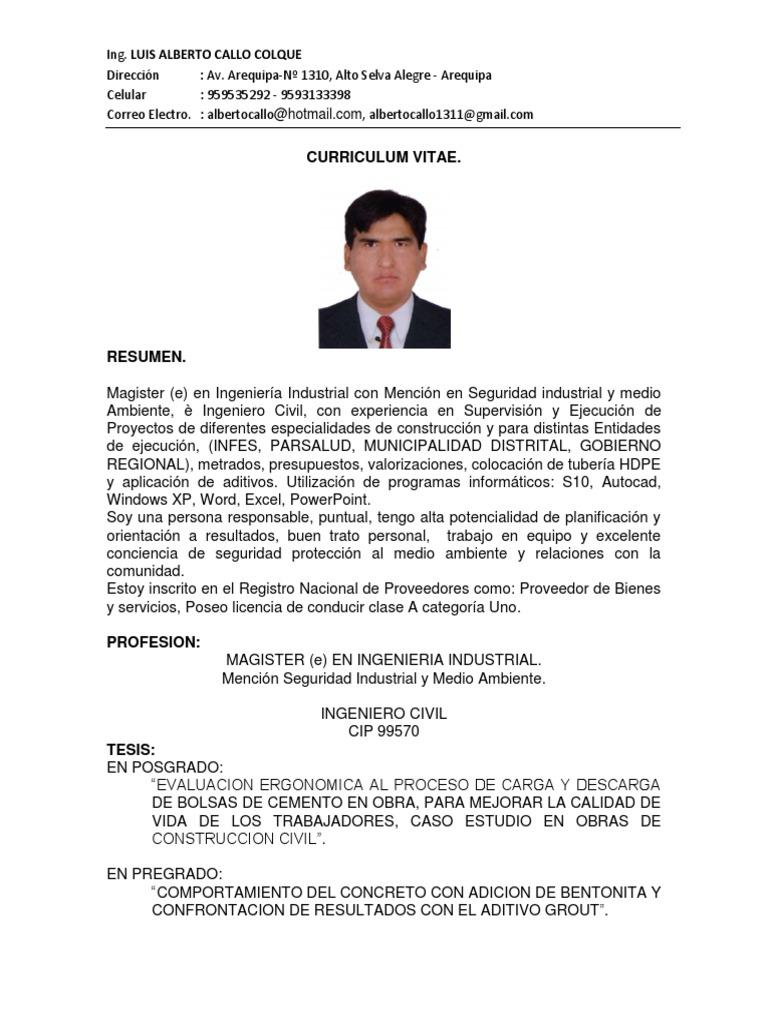 Único Ingeniero Industrial Curriculum Vitae Pdf Modelo - Colección ...
