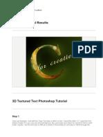 PHOTOSHOP Tutorial 3d Letters
