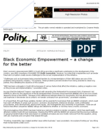Black Economic Empowerment – a change for the better