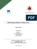 Rural Energy Policy for Timor-Leste (2008)