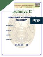 INFORME DE REACCIONES DE OXIDACION Y REDUCCION