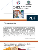 PRESENTACIÓN DICTAMINACIÓN DEL PLAN DE MEJORA 2013-2014