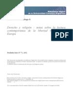Ramírez García, Hugo S. - Derecho y religión, notas sobre la lectura contemporánea de la libertad religiosa en Europa
