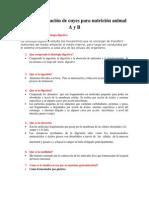 Test de evaluación F.D. cuyes nutrición animal A y B