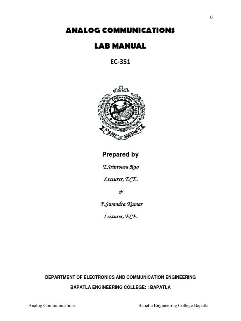 ec 351 ac analog communication lab manual amplifier frequency rh scribd com industrial electronics and communication engineering lab manual digital communication engineering lab manual