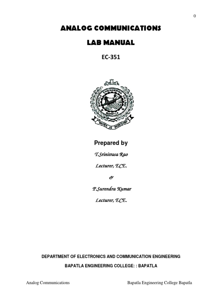 EC 351 AC Analog Communication lab manual | Amplifier | Frequency Modulation