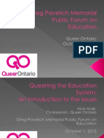 Queer Ontario - Greg Pavelich Memorial Public Forum On Education - Introduction