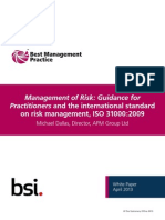 Management of Risk Guidance for Practitioners and the International Standard on Risk Management ISO31000 2009